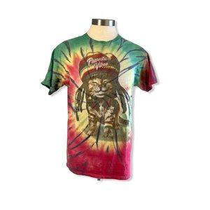 3/$30 Graphic T-Shirt Tie Dye Rasta Cat